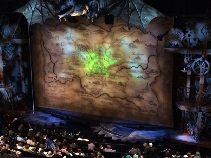 The stage of the Gershwin Theatre, venue for the award-winning play Wicked.